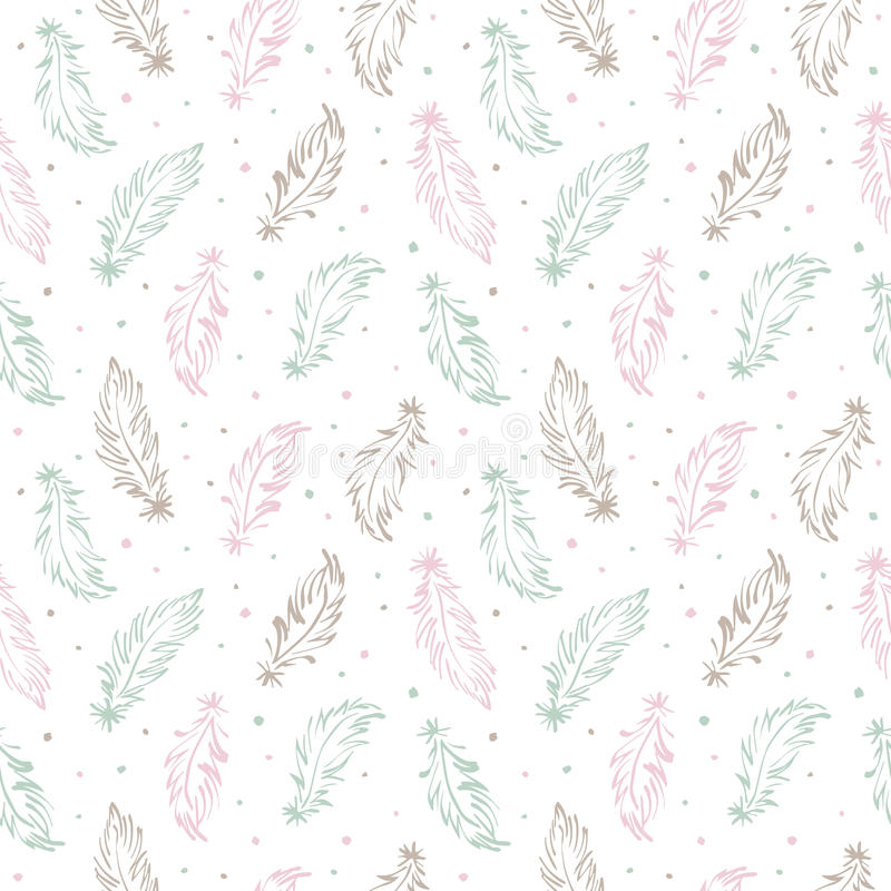 Feathers and specks boho style seamless vector pattern. Hand drawn feathers and specks, flecks, blobs seamless vector pattern. Boho style simple background. Tiny royalty free illustration