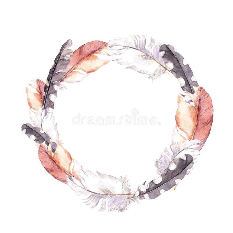Feathers. Vintage wreath border, boho style. Watercolor vector illustration