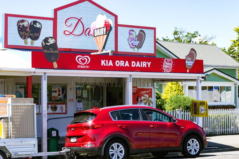 The Iconic Kia Ora Dairy, Featherston, New Zealand. Featherston, New Zealand - January 6, 2018: The Iconic Kia Ora Dairy, a popular stop off point for ice cream stock image