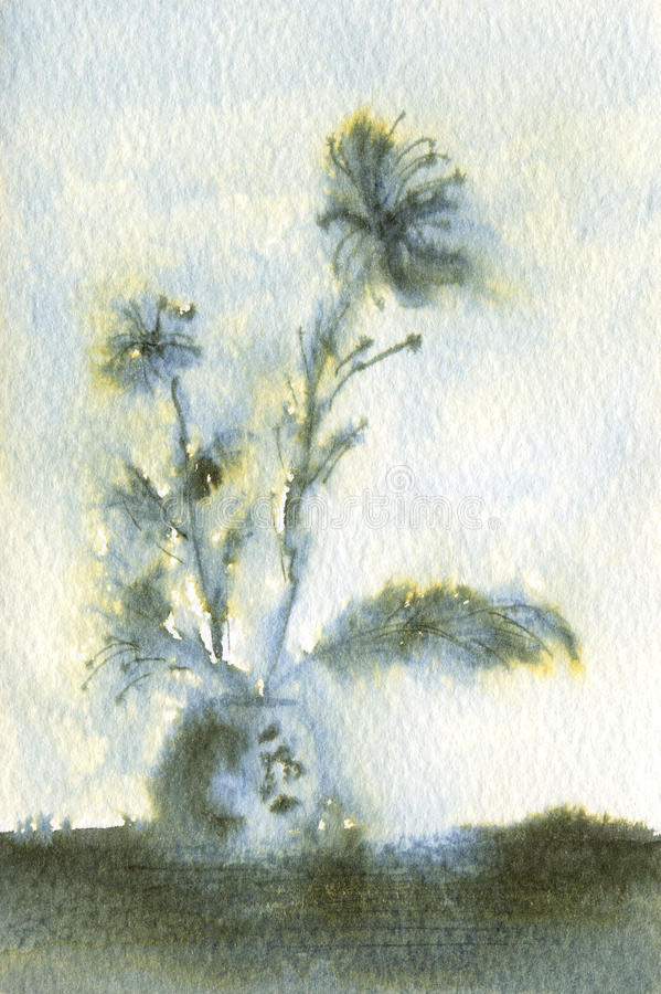 Download Feathery Blue Flowers In Vase Stock Illustration - Image: 10427691