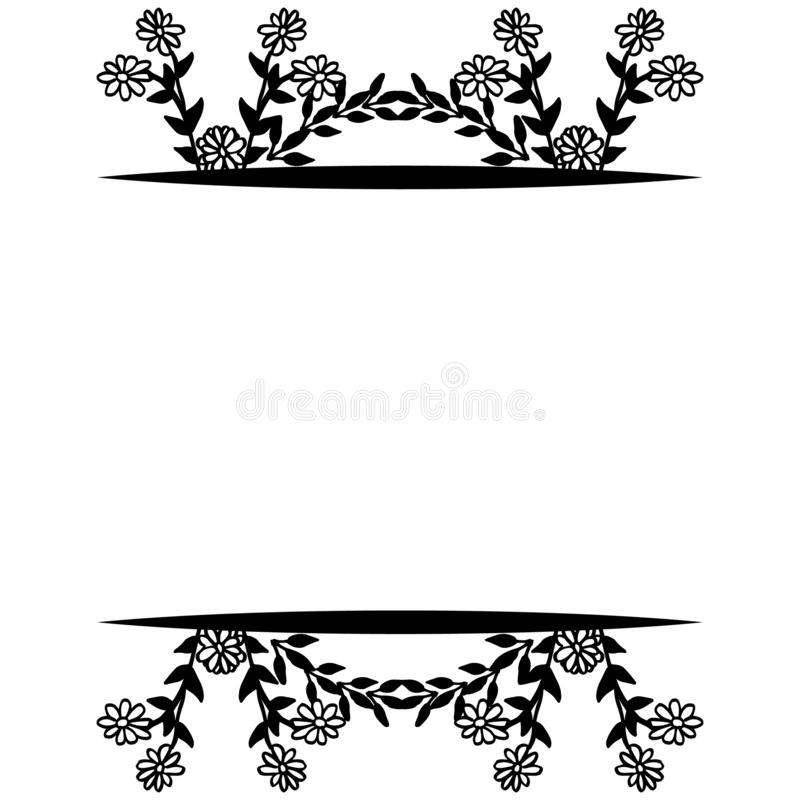 Feature of design cards, beautiful floral frame, ornament style unique. Vector. Illustration stock illustration