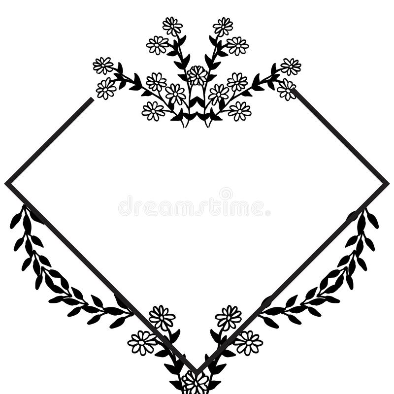 Feature of design cards, beautiful floral frame, ornament style unique. Vector. Illustration royalty free illustration