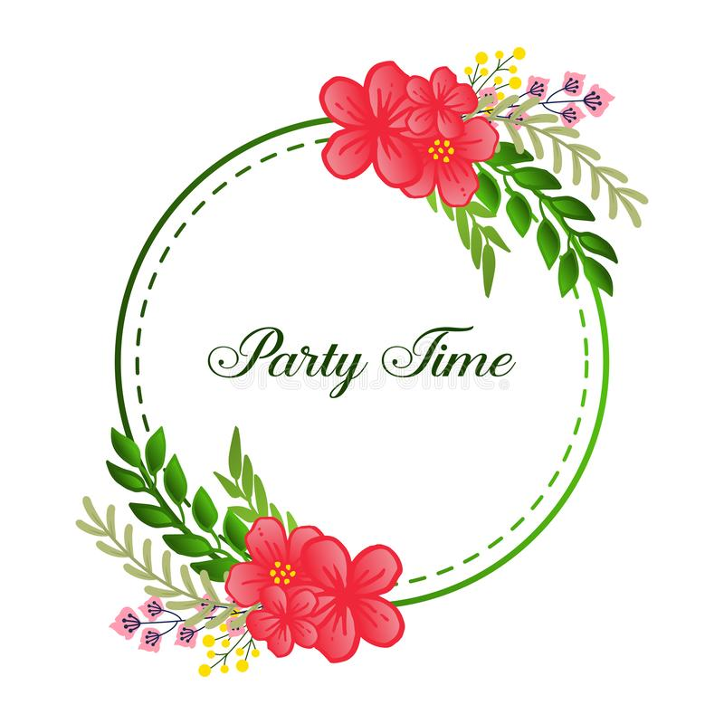 Feature green leafy flower frame, for party time handwritten text. Vector. Illustration stock illustration