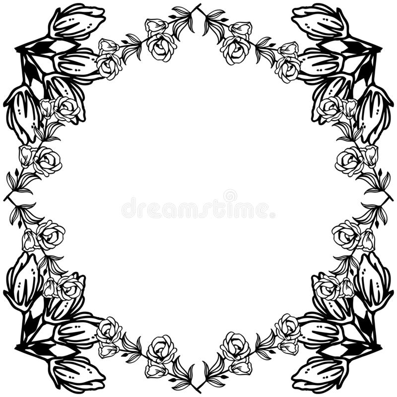 Feature and wallpaper for greeting card, black flower. Vector. Illustration royalty free illustration
