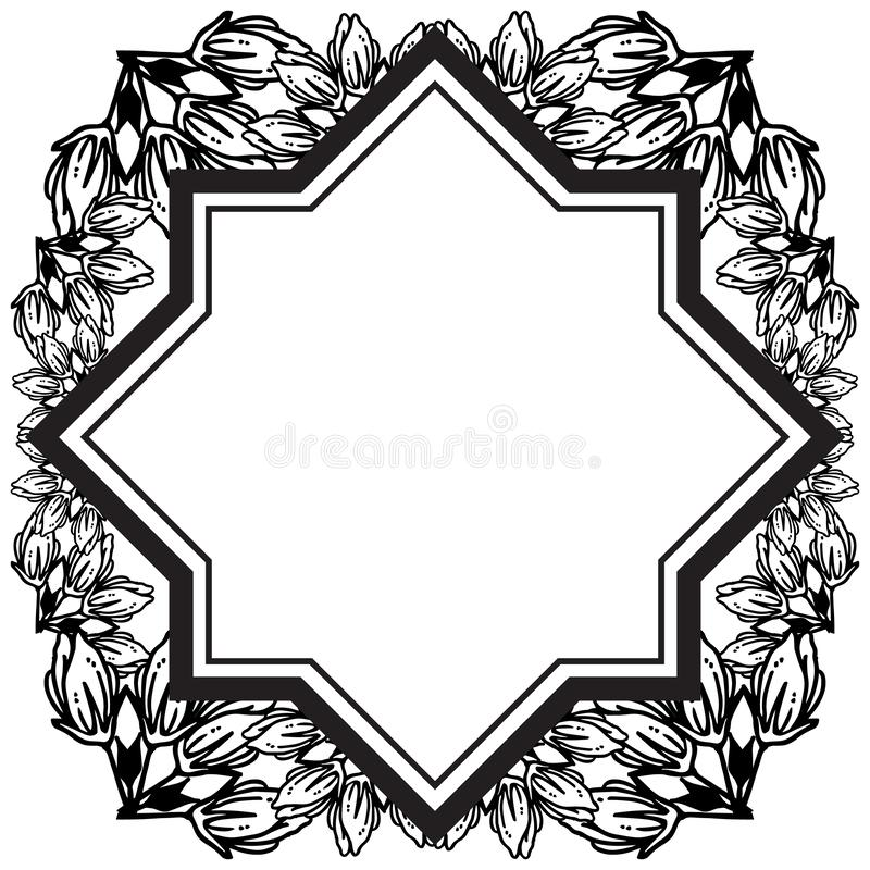 Feature and wallpaper for greeting card, black flower. Vector. Illustration stock illustration