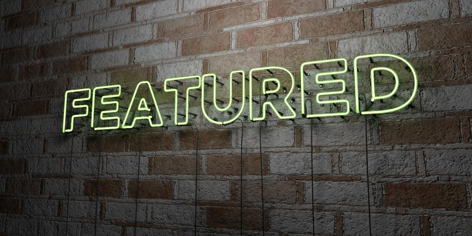 FEATURED - Glowing Neon Sign on stonework wall - 3D rendered royalty free stock illustration. Can be used for online banner ads and direct mailers royalty free illustration