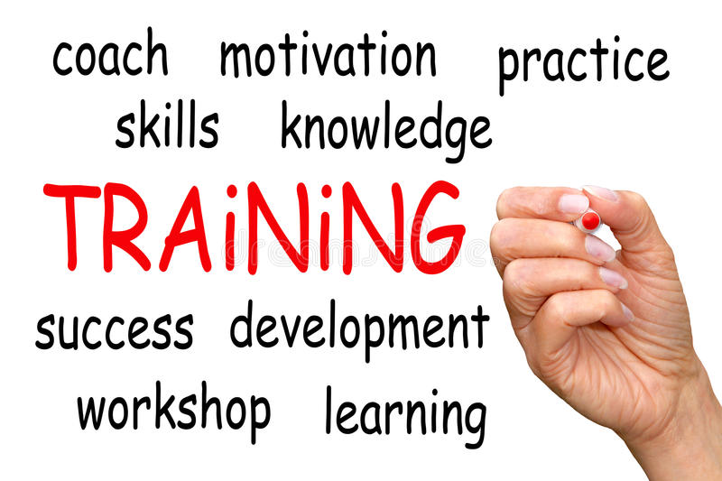 Features of training. A white board with text 'Training' in red lettering with features such as coach, practice, skills, workshop, learning stock photography