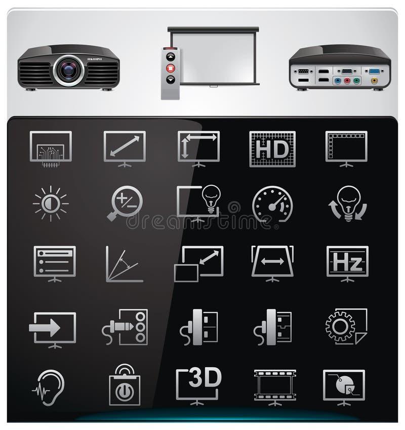 features videoen för projektorspecifikationsvektorn royaltyfri illustrationer