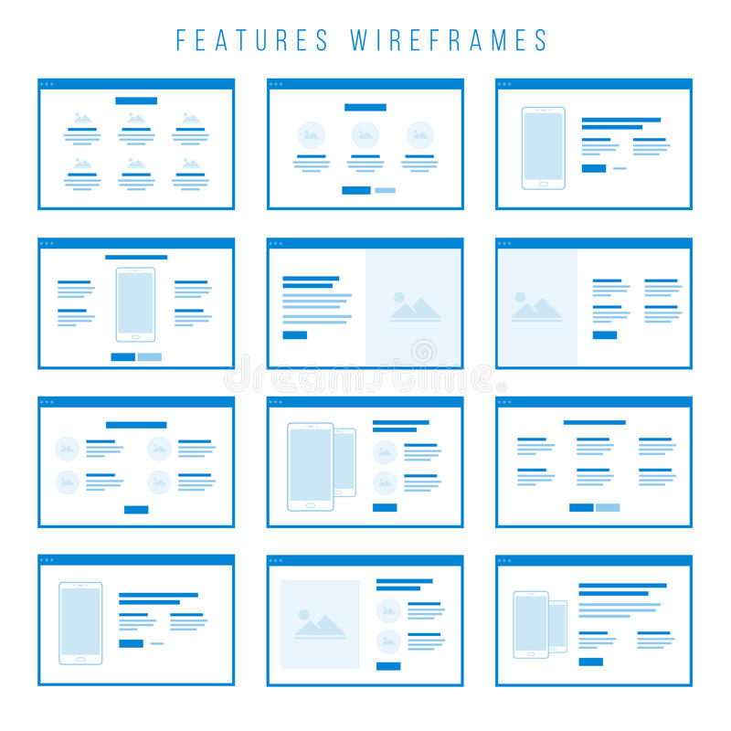 Features Wireframe components for prototypes. Wireframe components to build your own website mockup. You can combine them to create some unique prototypes and stock illustration