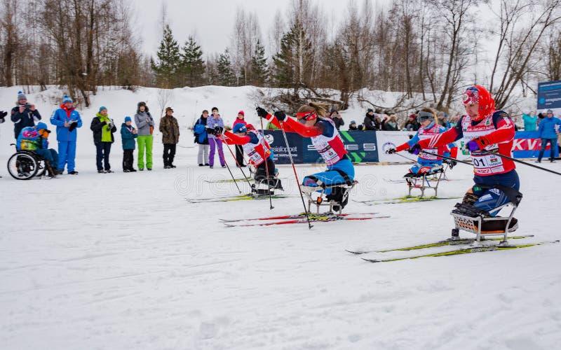 11 Feb 2017 Art-Veretevo Estate annual ski race Nikolov Perevoz 2017 Russialoppet ski marathon. Paralympic race. stock images