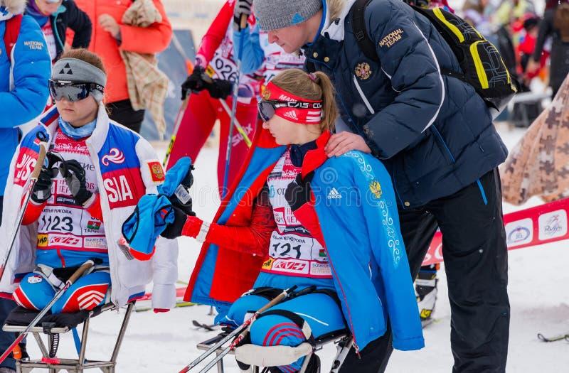 11 Feb 2017 Art-Veretevo Estate annual ski race Nikolov Perevoz 2017 Russialoppet ski marathon. Paralympic race. stock photography
