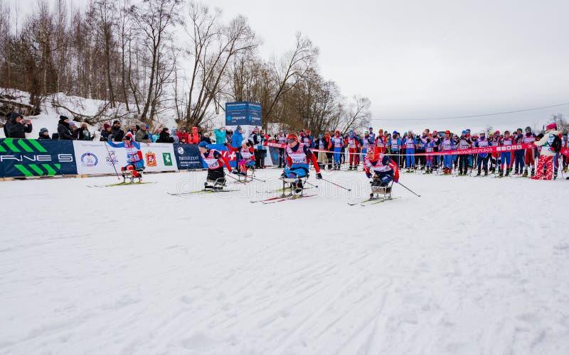 11 Feb 2017 Art-Veretevo Estate annual ski race Nikolov Perevoz 2017 Russialoppet ski marathon. Paralympic race. royalty free stock images