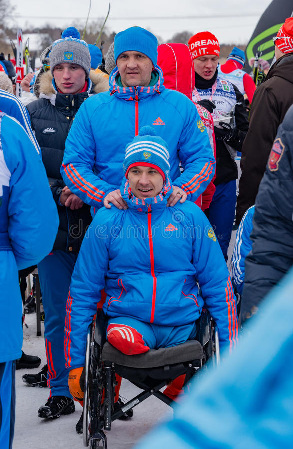 11 Feb 2017 Art-Veretevo Estate annual ski race Nikolov Perevoz 2017 Russialoppet ski marathon. Paralympic race . Paralympic team almost at full strength will stock photography