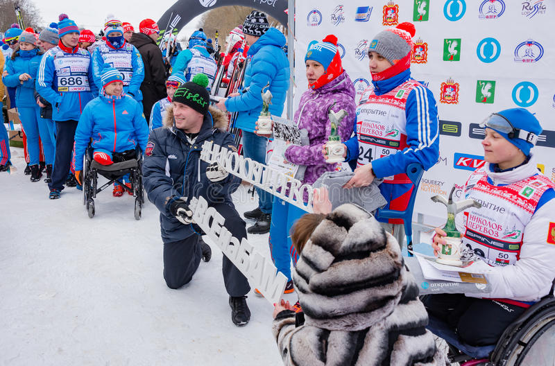 11 Feb 2017 Art-Veretevo Estate annual ski race Nikolov Perevoz 2017 Russialoppet ski marathon. Paralympic race . Paralympic team almost at full strength will stock images