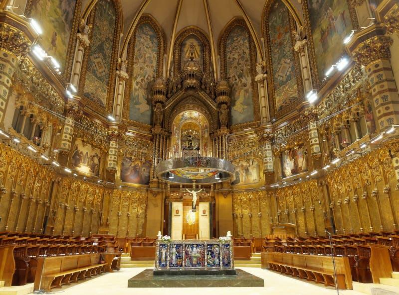 FEB 18 2014: Interior of Basilica in Benedictine Abbey of Santa Maria de Montserrat (founded in 1025) in Montserrat royalty free stock photography