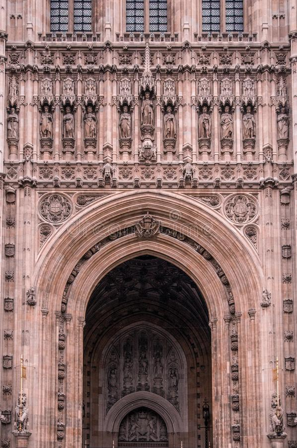 Facade of Westminster Abbey London UK stock photos