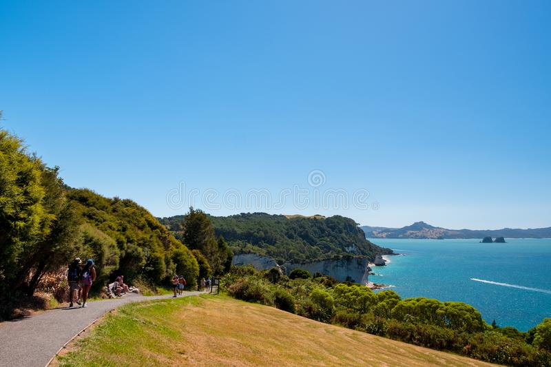 2019 FEB 19, New Zealand, Coromandel -  Cathedral cove the travelling destination in a beautiful day royalty free stock photo