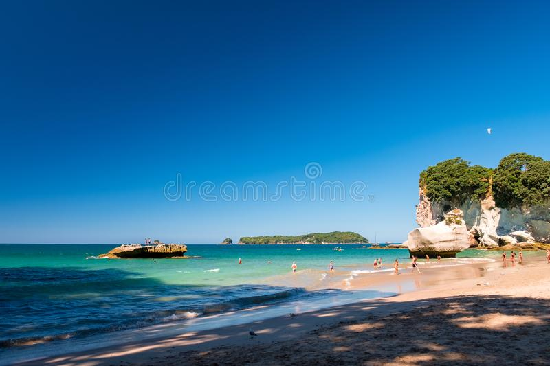2019 FEB 19, New Zealand, Coromandel -  Chathdral cove the travelling destination in a beautiful day royalty free stock image