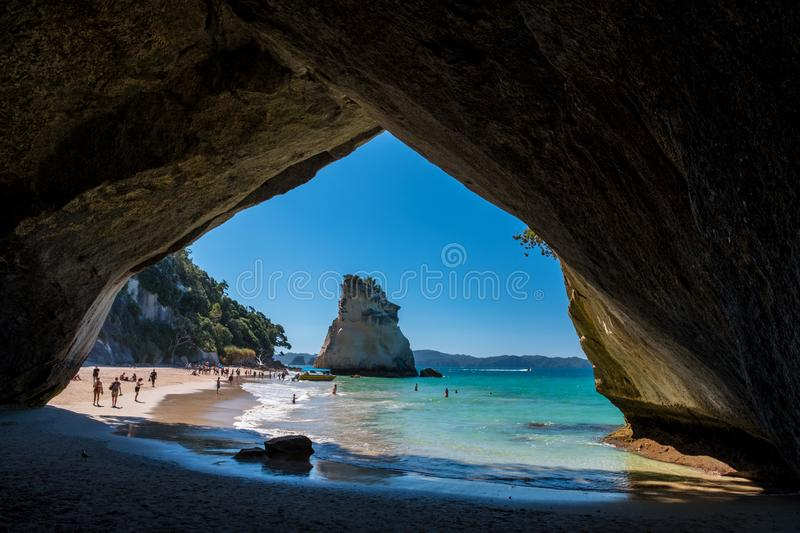 2019 FEB 19, New Zealand, Coromandel -  Chathdral cove the travelling destination in a beautiful day royalty free stock photo