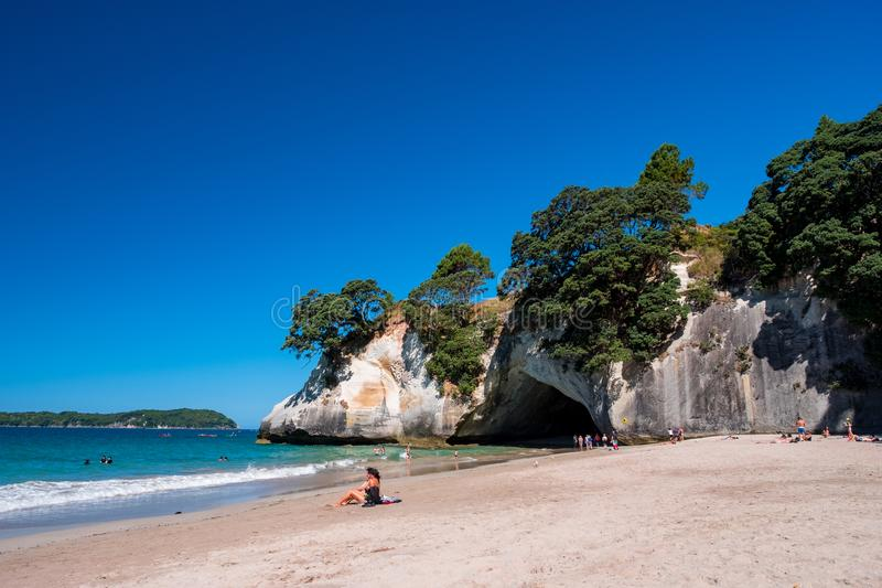 2019 FEB 19, New Zealand, Coromandel -  Chathdral cove the travelling destination in a beautiful day royalty free stock photography