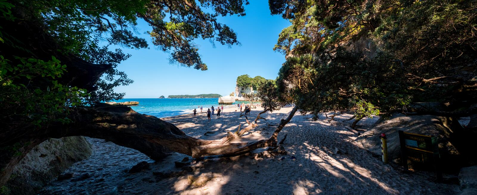 2019 FEB 19, New Zealand, Coromandel -  Panorama view of Chathdral cove the travelling destination in a beautiful day royalty free stock images