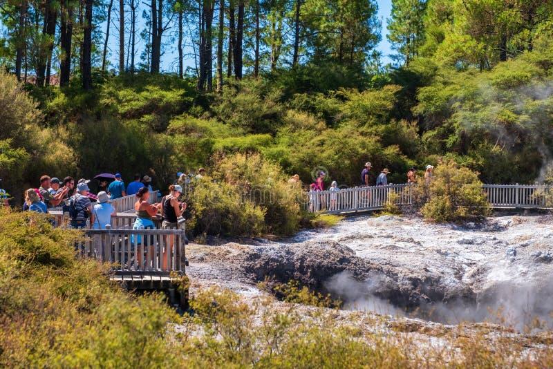 2019 FEB 16, New Zealand, Rotorua, Wai-O-Tapu, Beautiful scenery of thermal wonderland stock photography