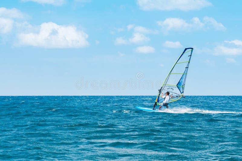 Phuket Patong beach windsurfing sport in hot summer sun royalty free stock photography
