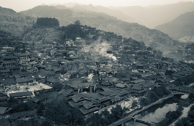 Xijiang thousand family Miao village, Guizhou, China stock photography