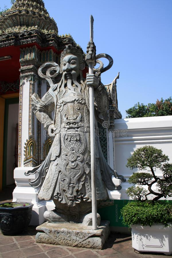 7 febbraio 2019, Bangkok, Tailandia, complesso del tempio di Wat Pho Statue e sculture buddisti fotografia stock libera da diritti