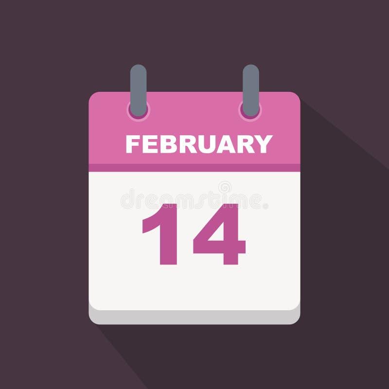 14 febbraio calendario illustrazione vettoriale