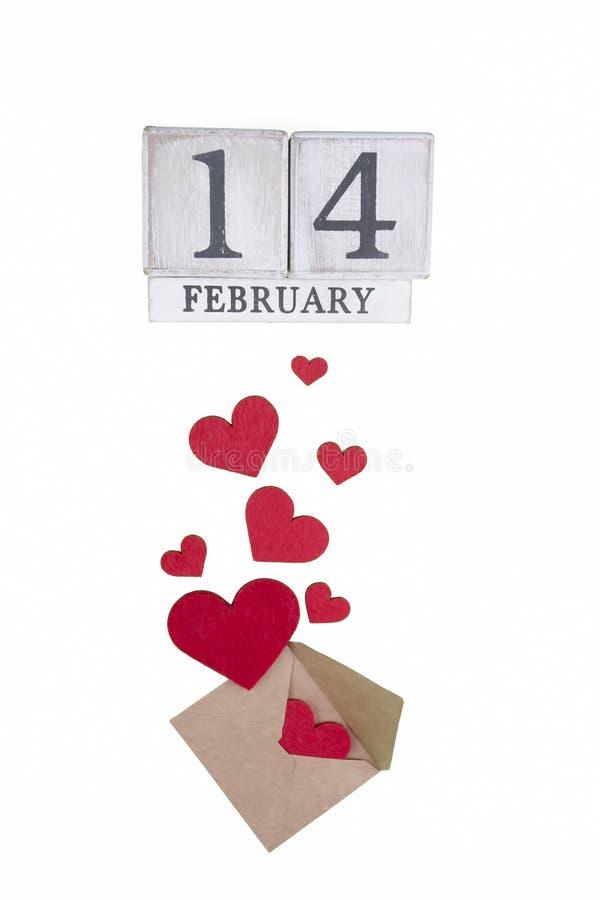 14 febbraio calendario; mondo del concetto di San Valentino immagini stock libere da diritti