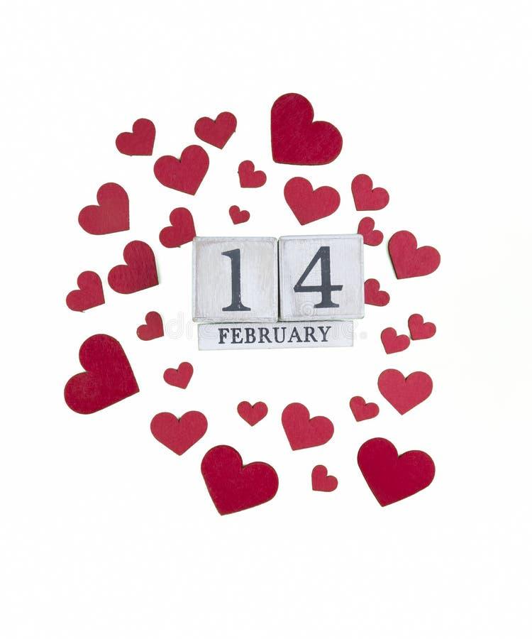 14 febbraio calendario; mondo del concetto di San Valentino fotografie stock libere da diritti