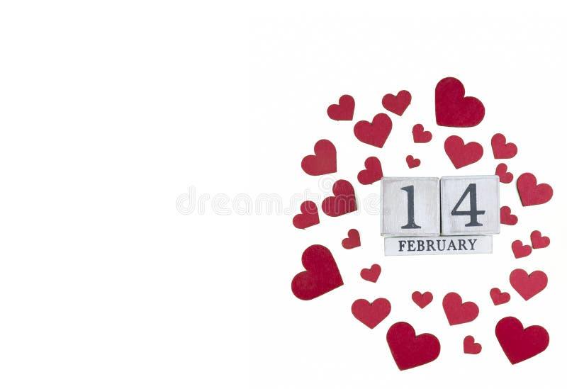 14 febbraio calendario; mondo del concetto di San Valentino fotografie stock