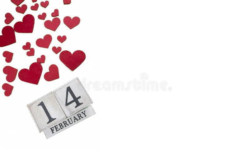 14 febbraio calendario; mondo del concetto di San Valentino immagine stock