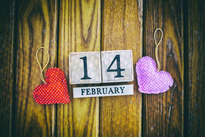 14 febbraio calendario; mondo del concetto di San Valentino fotografia stock