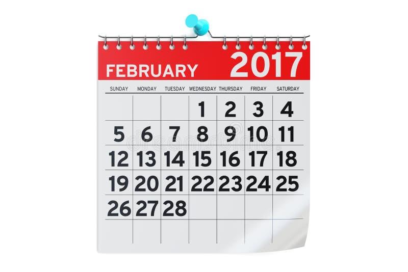 Febbraio 2017 calendario, rappresentazione 3D illustrazione vettoriale