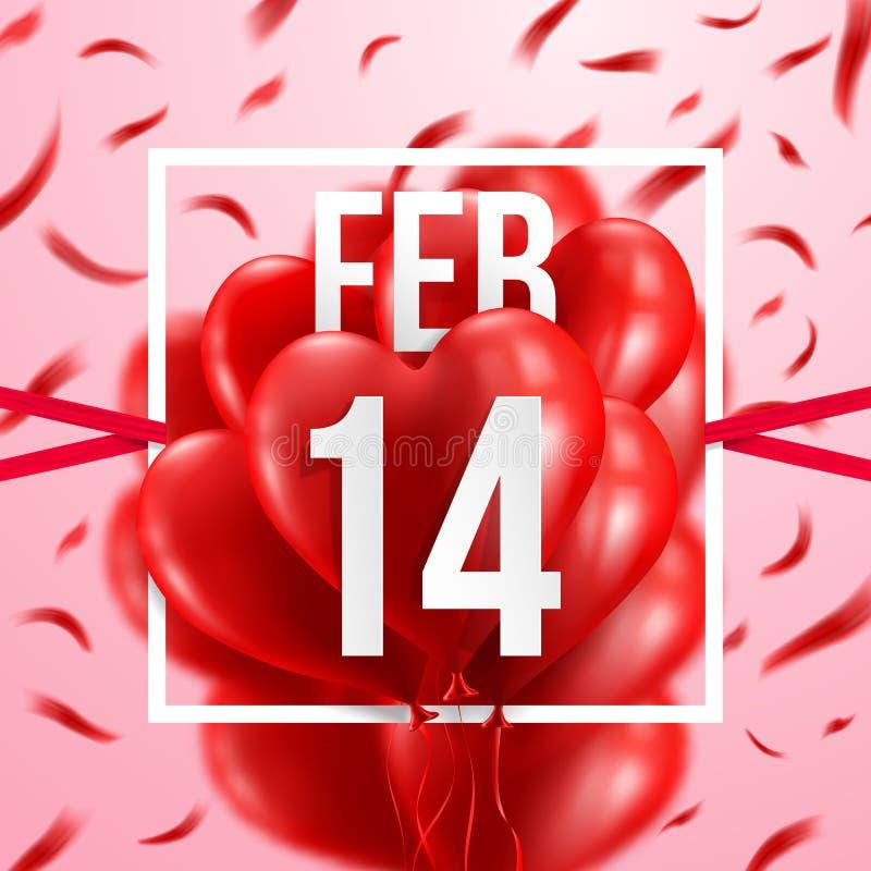 14 febbraio e palloni rossi del cuore Giorno del ` s del biglietto di S. Valentino e di amore illustrazione di stock