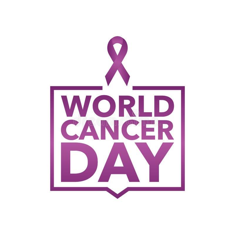4 febbraio fondo di campagna di mese di consapevolezza del Cancro del mondo con il simbolo magenta di carta del nastro Cancro pan illustrazione di stock