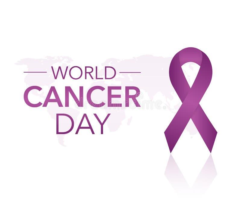4 febbraio fondo di campagna di mese di consapevolezza del Cancro del mondo con il simbolo magenta di carta del nastro Cancro pan illustrazione vettoriale