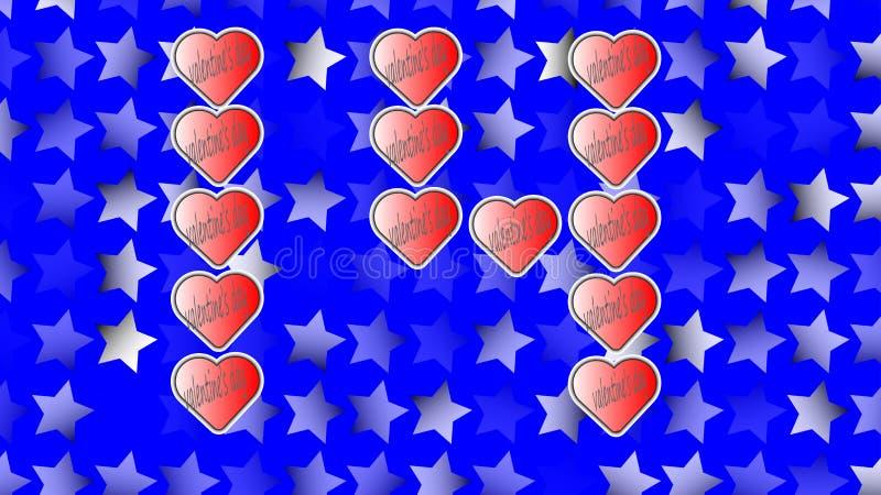 14 febbraio, giorno del ` s del biglietto di S. Valentino della st, eseguito dai cuori rossi fotografie stock libere da diritti