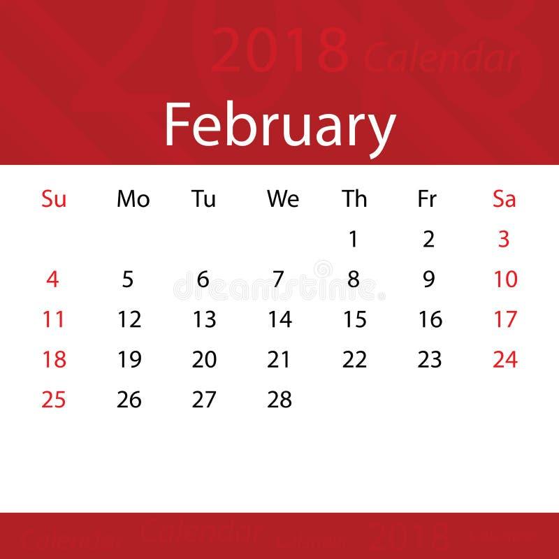 Febbraio 2018 premio rosso popolare del calendario per l'affare royalty illustrazione gratis