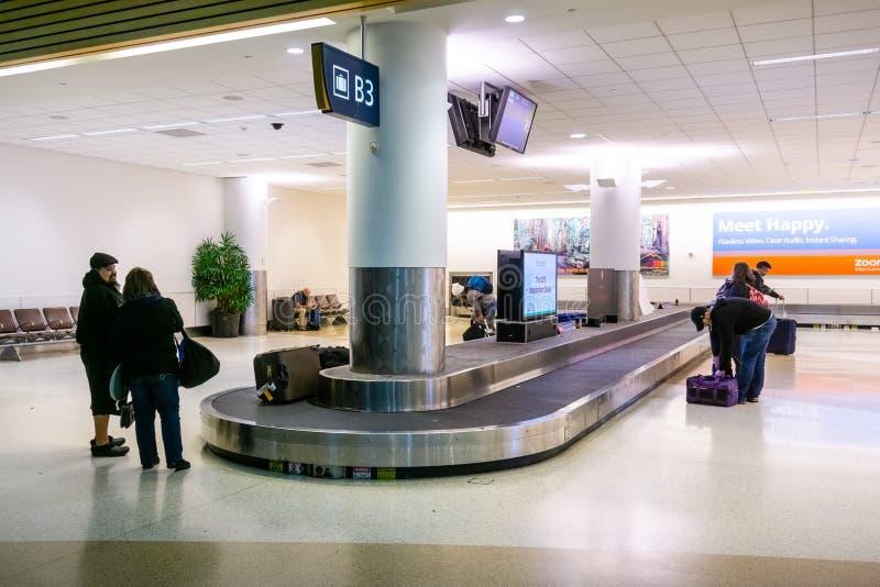 23 febbraio 2019 San José/CA/U.S.A. - area sostenente del bagaglio al normanno Y Mineta San Jose International Airport fotografia stock libera da diritti