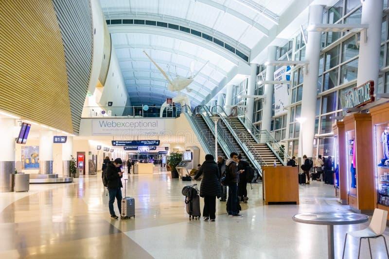 23 febbraio 2019 San José/CA/U.S.A. - punto di vista interno del normanno Y Mineta San Jose International Airport fotografia stock libera da diritti