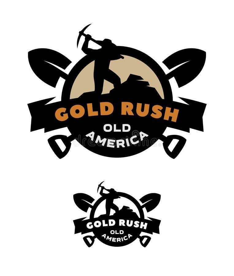 Febre do ouro, emblema, logotipo ilustração royalty free