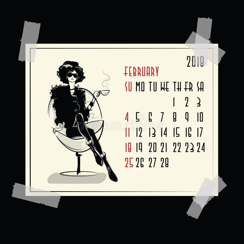 febrero Calendario americano y canadiense ilustración del vector