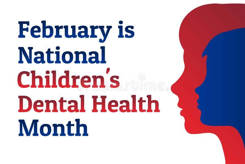 Febrero es el Mes Nacional de Salud Dental para los Niños - NCDHM Plantilla para fondo, banner, tarjeta, afiche con texto stock de ilustración