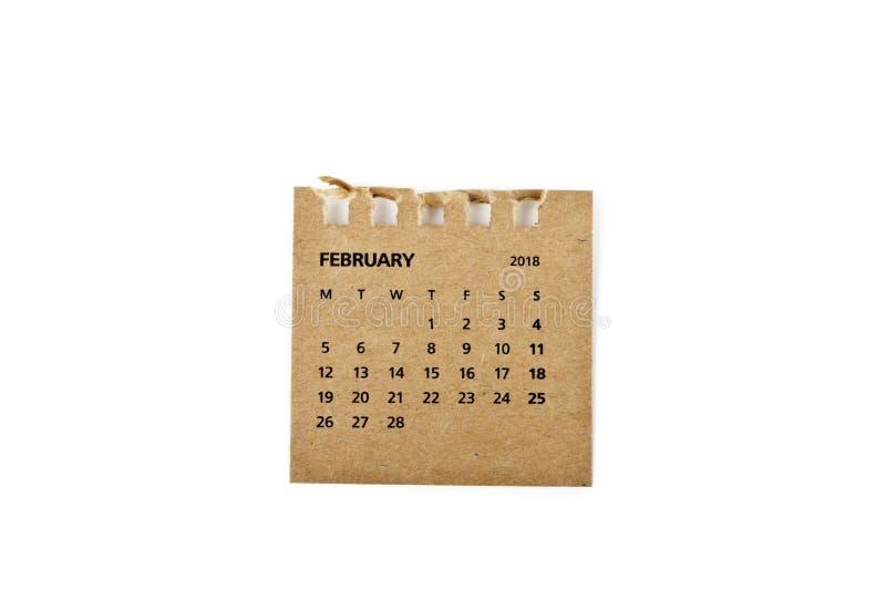 febrero Hoja del calendario en blanco imágenes de archivo libres de regalías