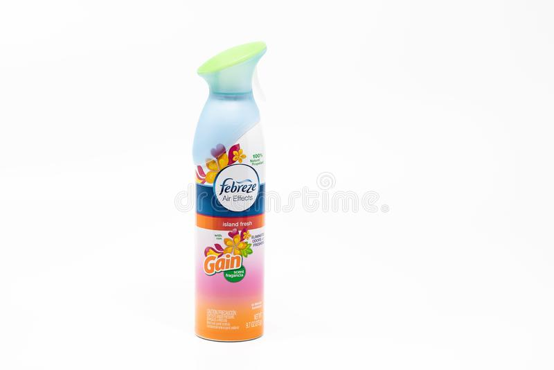 Febreze air freshener in a can. Portland, OR / USA - December 20 2018: Febreze brand air freshener with an island fresh scent, isolated on white background royalty free stock photo