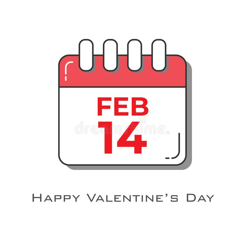 14. Februar Kalender in der rot-weißen Farbe in der flachen Entwurfsart stock abbildung