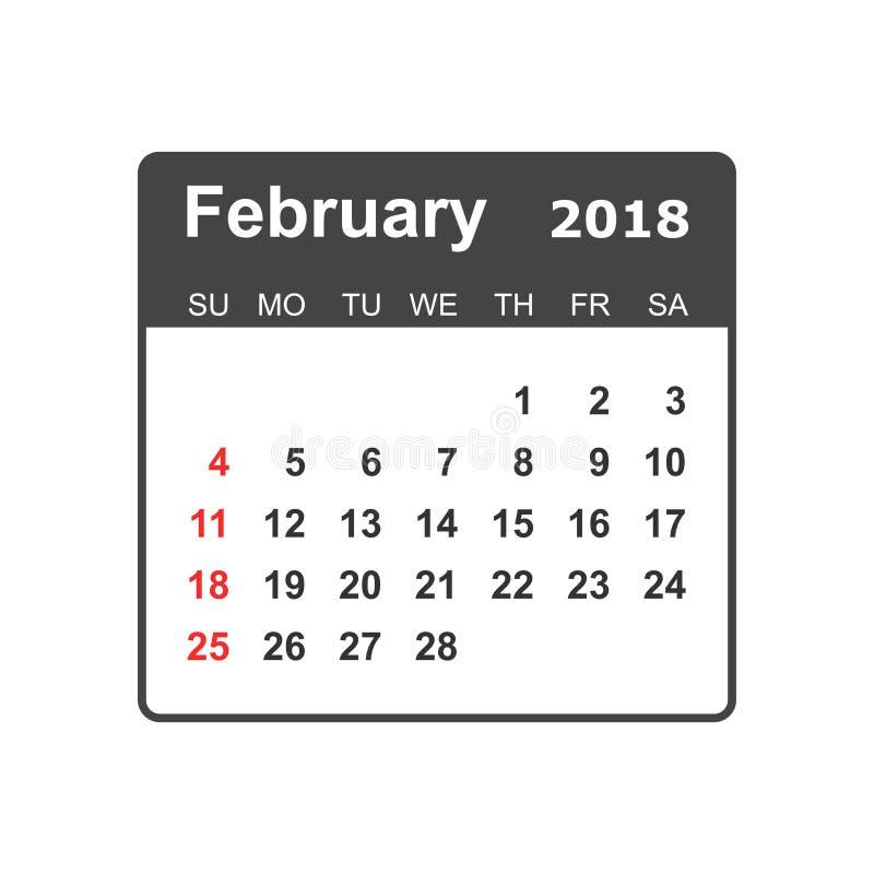 Februar 2018 Kalender Kalenderplaner-Designschablone Woche s lizenzfreie abbildung